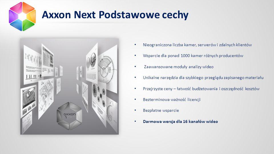 Axxon Next Podstawowe cechy Nieograniczona liczba kamer, serwerów i zdalnych klientów Wsparcie dla ponad 1000 kamer różnych producentów Zaawansowane moduły analizy wideo Unikalne narzędzia dla szybkiego przeglądu zapisanego materiału Przejrzyste ceny – łatwość budżetowania i oszczędność kosztów Bezterminowa ważność licencji Bezpłatne wsparcie Darmowa wersja dla 16 kanałów wideo
