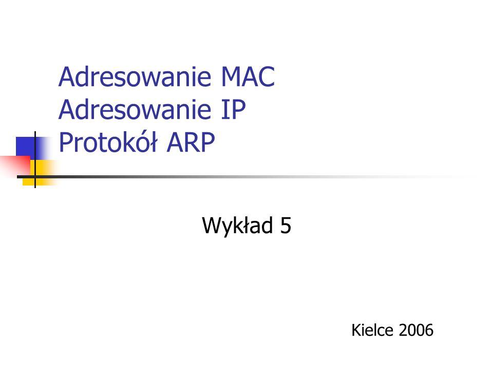 Adresowanie MAC Adresowanie IP Protokół ARP Wykład 5 Kielce 2006
