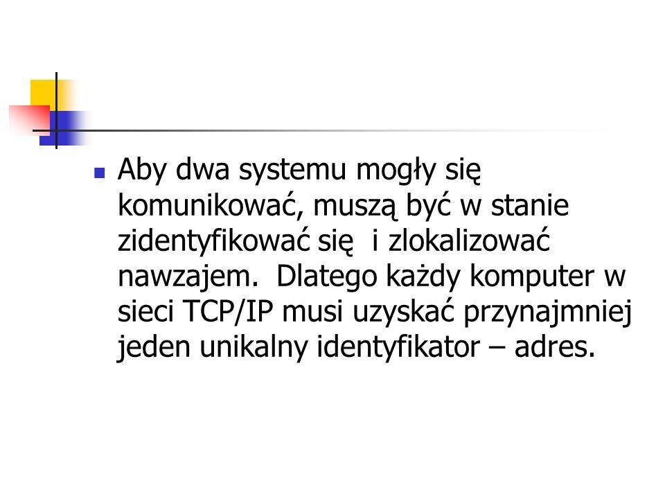 Aby dwa systemu mogły się komunikować, muszą być w stanie zidentyfikować się i zlokalizować nawzajem. Dlatego każdy komputer w sieci TCP/IP musi uzysk