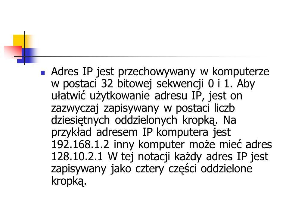 Adres IP jest przechowywany w komputerze w postaci 32 bitowej sekwencji 0 i 1. Aby ułatwić użytkowanie adresu IP, jest on zazwyczaj zapisywany w posta