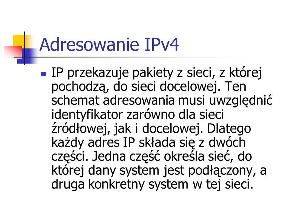 Adresowanie IPv4 IP przekazuje pakiety z sieci, z której pochodzą, do sieci docelowej. Ten schemat adresowania musi uwzględnić identyfikator zarówno d