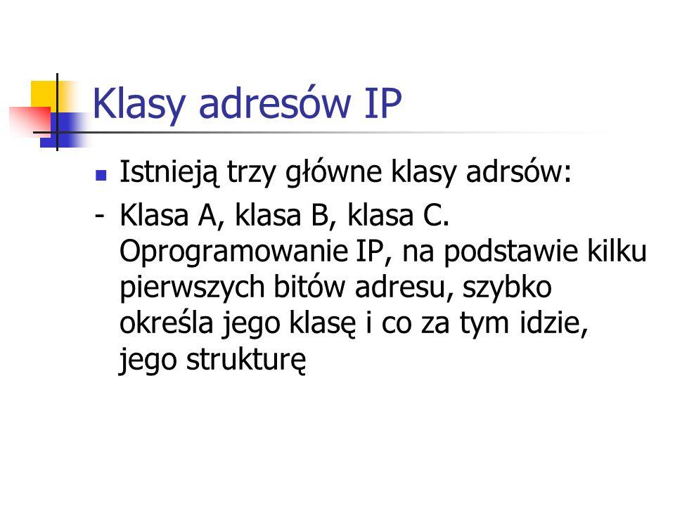 Klasy adresów IP Istnieją trzy główne klasy adrsów: -Klasa A, klasa B, klasa C. Oprogramowanie IP, na podstawie kilku pierwszych bitów adresu, szybko