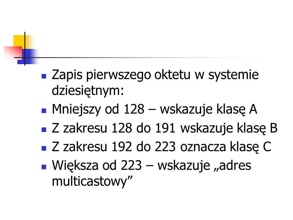 Zapis pierwszego oktetu w systemie dziesiętnym: Mniejszy od 128 – wskazuje klasę A Z zakresu 128 do 191 wskazuje klasę B Z zakresu 192 do 223 oznacza