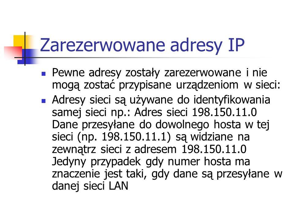 Zarezerwowane adresy IP Pewne adresy zostały zarezerwowane i nie mogą zostać przypisane urządzeniom w sieci: Adresy sieci są używane do identyfikowani