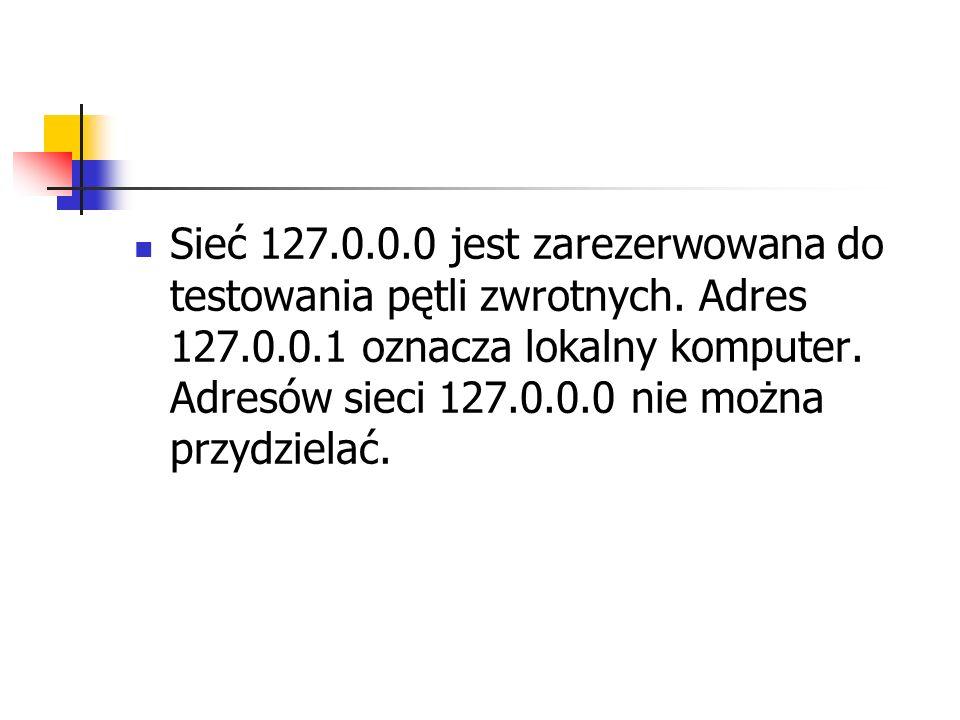 Sieć 127.0.0.0 jest zarezerwowana do testowania pętli zwrotnych. Adres 127.0.0.1 oznacza lokalny komputer. Adresów sieci 127.0.0.0 nie można przydziel