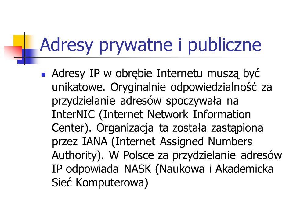 Adresy prywatne i publiczne Adresy IP w obrębie Internetu muszą być unikatowe. Oryginalnie odpowiedzialność za przydzielanie adresów spoczywała na Int