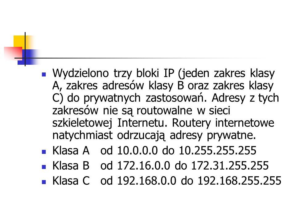Wydzielono trzy bloki IP (jeden zakres klasy A, zakres adresów klasy B oraz zakres klasy C) do prywatnych zastosowań. Adresy z tych zakresów nie są ro