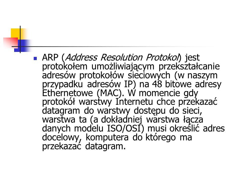 ARP (Address Resolution Protokol) jest protokołem umożliwiającym przekształcanie adresów protokołów sieciowych (w naszym przypadku adresów IP) na 48 b