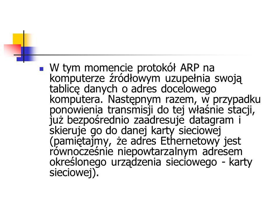 W tym momencie protokół ARP na komputerze źródłowym uzupełnia swoją tablicę danych o adres docelowego komputera. Następnym razem, w przypadku ponowien