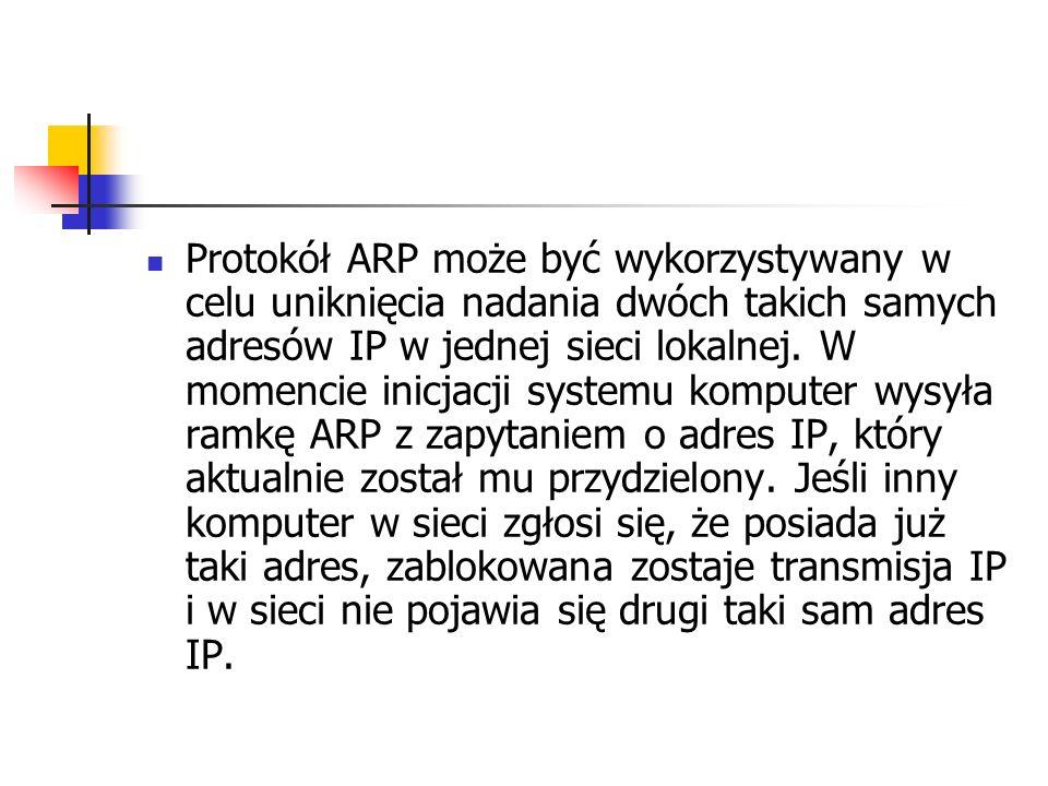 Protokół ARP może być wykorzystywany w celu uniknięcia nadania dwóch takich samych adresów IP w jednej sieci lokalnej. W momencie inicjacji systemu ko