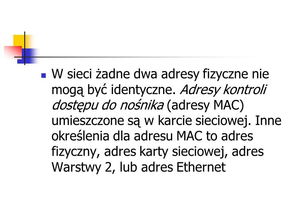 W sieci żadne dwa adresy fizyczne nie mogą być identyczne. Adresy kontroli dostępu do nośnika (adresy MAC) umieszczone są w karcie sieciowej. Inne okr