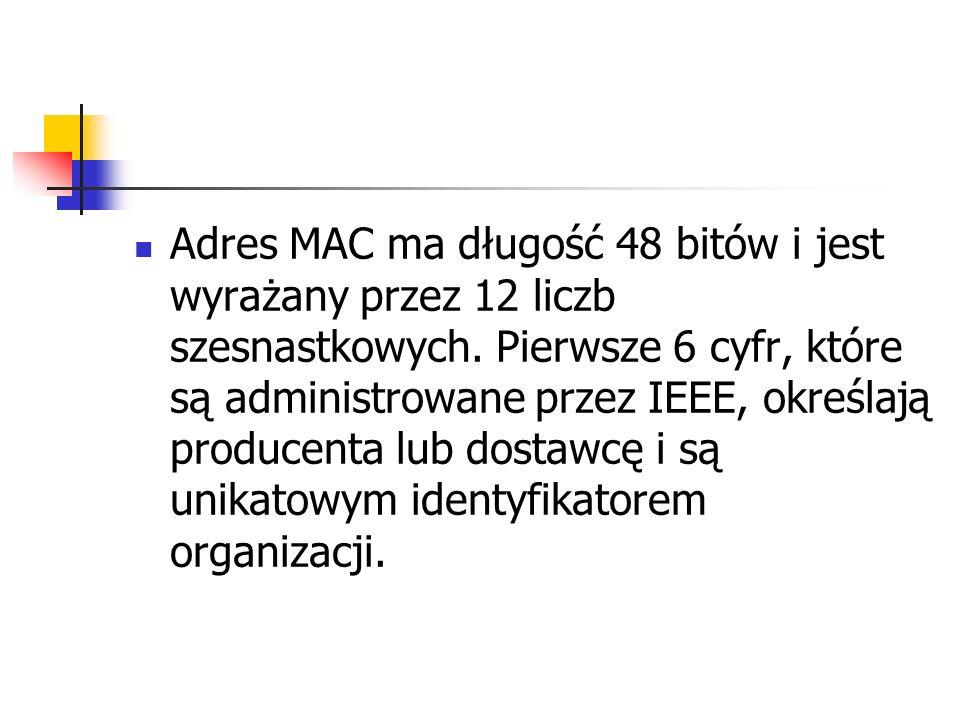 Adres MAC ma długość 48 bitów i jest wyrażany przez 12 liczb szesnastkowych. Pierwsze 6 cyfr, które są administrowane przez IEEE, określają producenta