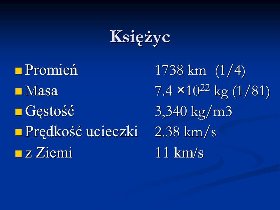 Księżyc Promień 1738 km (1/4) Promień 1738 km (1/4) M asa 7.4 ×10 22 kg (1/81) M asa 7.4 ×10 22 kg (1/81) Gęstość 3,340 kg/m3 Gęstość 3,340 kg/m3 Pręd