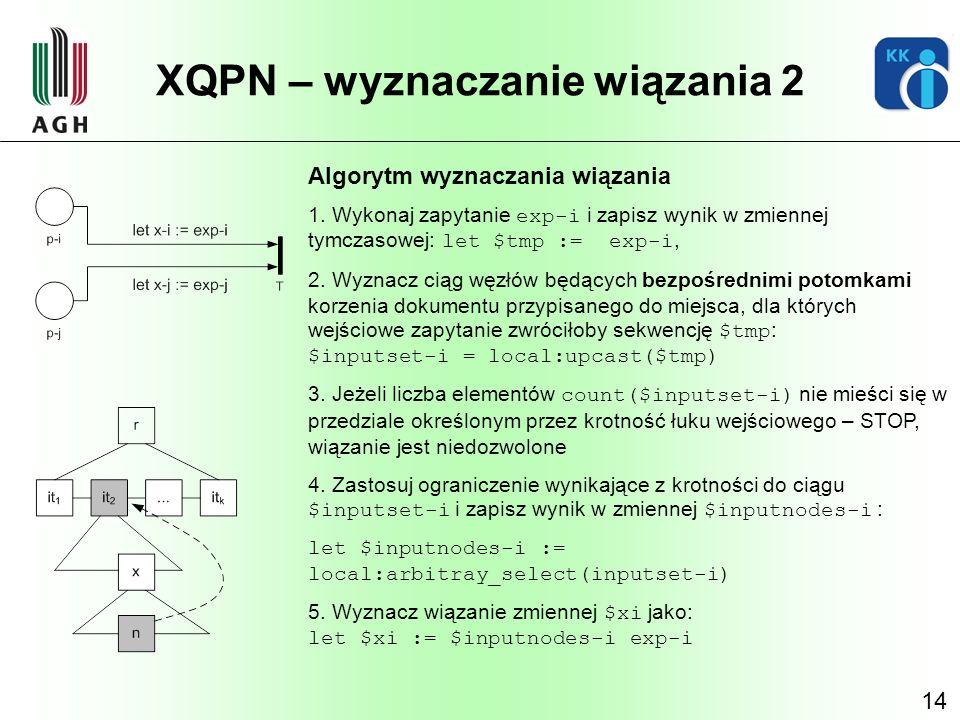 14 XQPN – wyznaczanie wiązania 2 Algorytm wyznaczania wiązania 1. Wykonaj zapytanie exp-i i zapisz wynik w zmiennej tymczasowej: let $tmp := exp-i, 2.