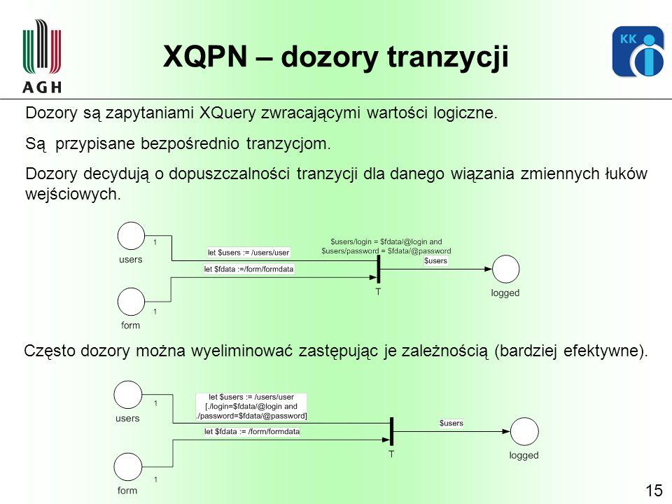 15 XQPN – dozory tranzycji Dozory są zapytaniami XQuery zwracającymi wartości logiczne. Są przypisane bezpośrednio tranzycjom. Dozory decydują o dopus