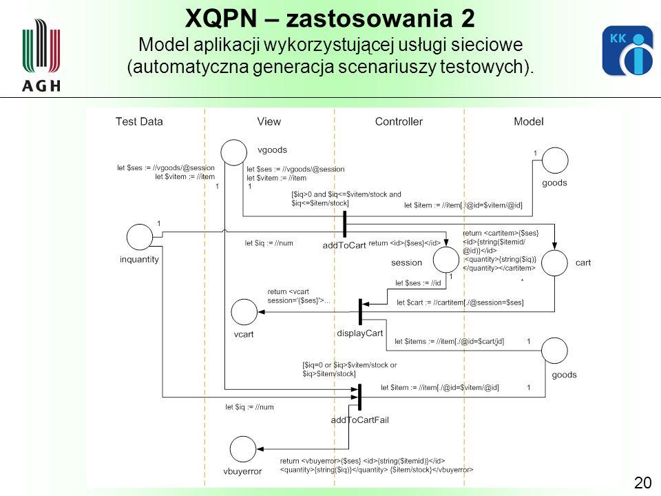 20 XQPN – zastosowania 2 Model aplikacji wykorzystującej usługi sieciowe (automatyczna generacja scenariuszy testowych).