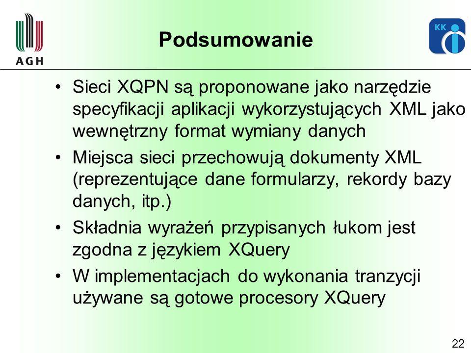 22 Podsumowanie Sieci XQPN są proponowane jako narzędzie specyfikacji aplikacji wykorzystujących XML jako wewnętrzny format wymiany danych Miejsca sie