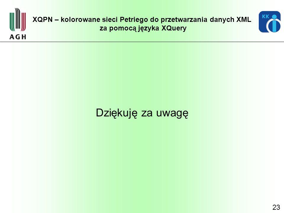 23 XQPN – kolorowane sieci Petriego do przetwarzania danych XML za pomocą języka XQuery Dziękuję za uwagę