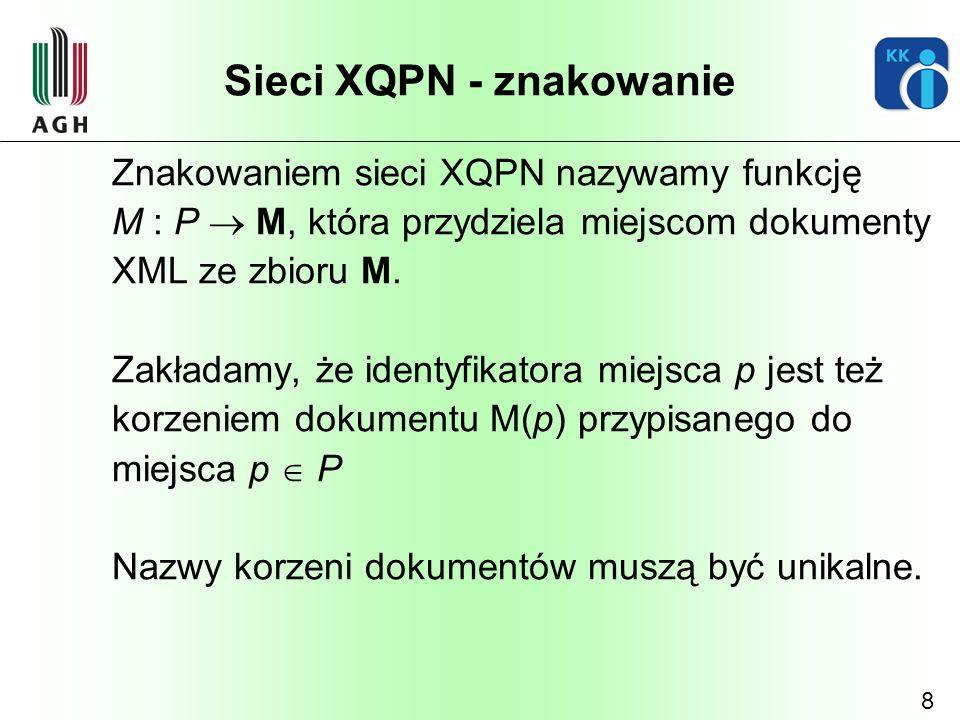 8 Sieci XQPN - znakowanie Znakowaniem sieci XQPN nazywamy funkcję M : P M, która przydziela miejscom dokumenty XML ze zbioru M. Zakładamy, że identyfi