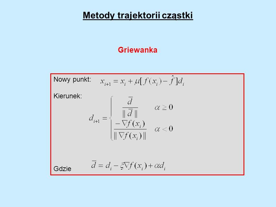 Nowy punkt: Kierunek: Gdzie Metody trajektorii cząstki Griewanka