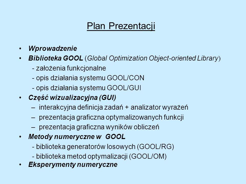 Biblioteka GOOL łącznie z częścią wizualizacyjną stanowi narzędzie do badania metod optymalizacji dla różnych zadań testowych: –wprowadzanych w postaci analitycznej (korzystając z interfejsu lub z pliku tekstowego) –wprowadzonych w postaci symulatora Część numeryczna jest zrealizowana w C/C++ Interfejs graficzny w języku skryptowym Tcl / Tk Biblioteka GOOL