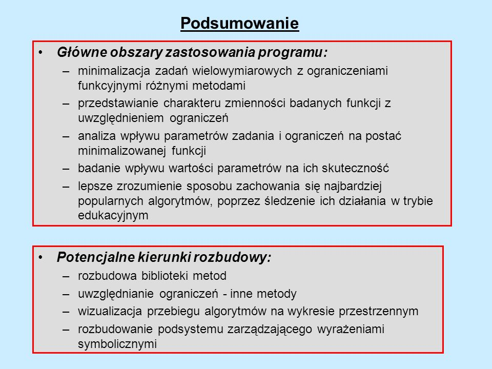Podsumowanie Główne obszary zastosowania programu: –minimalizacja zadań wielowymiarowych z ograniczeniami funkcyjnymi różnymi metodami –przedstawianie