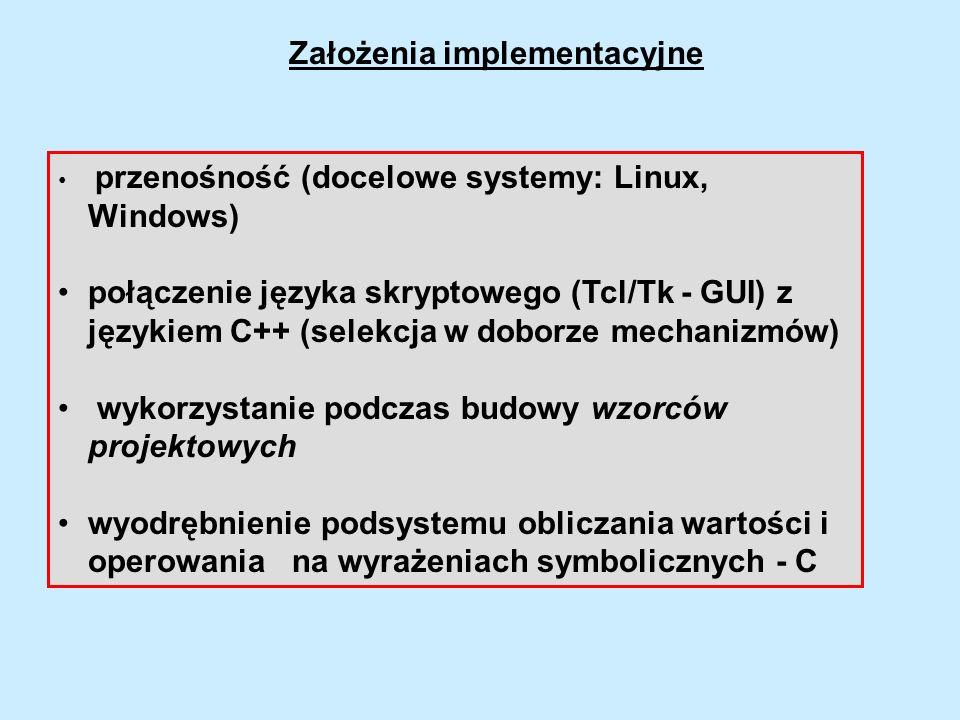Założenia implementacyjne przenośność (docelowe systemy: Linux, Windows) połączenie języka skryptowego (Tcl/Tk - GUI) z językiem C++ (selekcja w dobor
