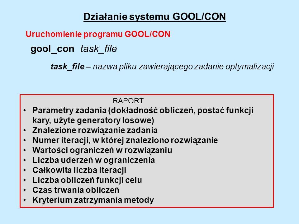 Działanie systemu GOOL/CON RAPORT Parametry zadania (dokładność obliczeń, postać funkcji kary, użyte generatory losowe) Znalezione rozwiązanie zadania