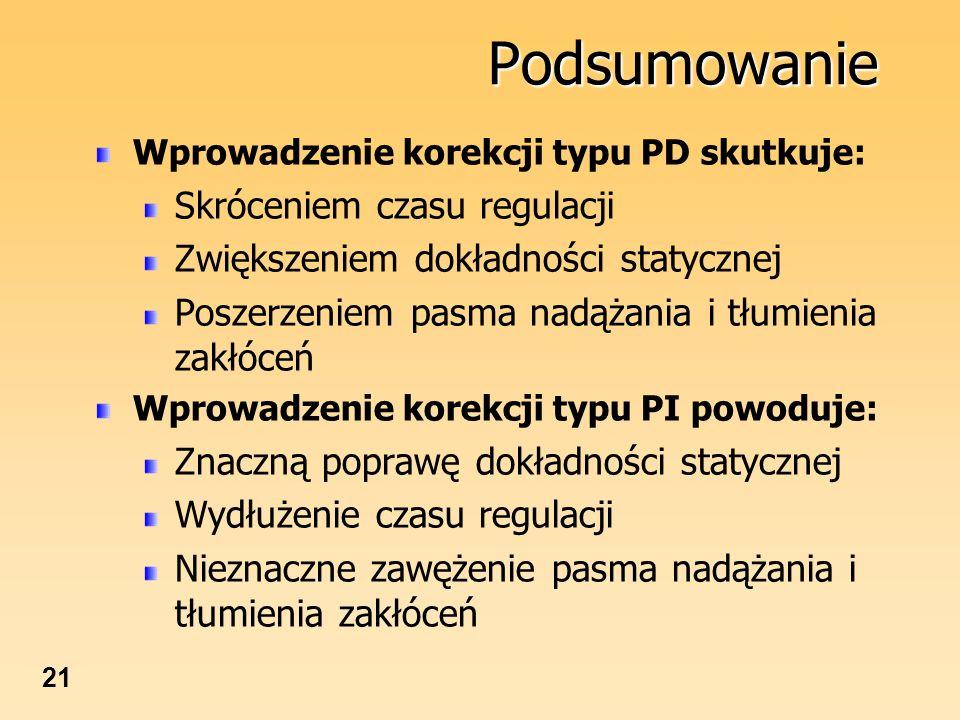 21 Podsumowanie Wprowadzenie korekcji typu PD skutkuje: Skróceniem czasu regulacji Zwiększeniem dokładności statycznej Poszerzeniem pasma nadążania i