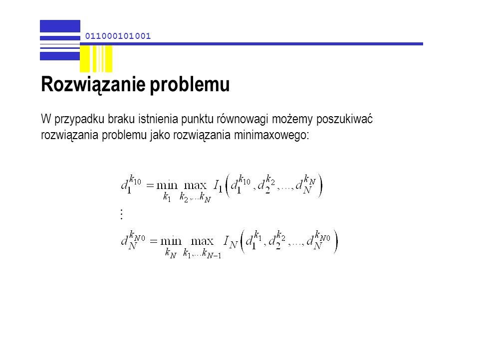 011000101001 W przypadku braku istnienia punktu równowagi możemy poszukiwać rozwiązania problemu jako rozwiązania minimaxowego: Rozwiązanie problemu