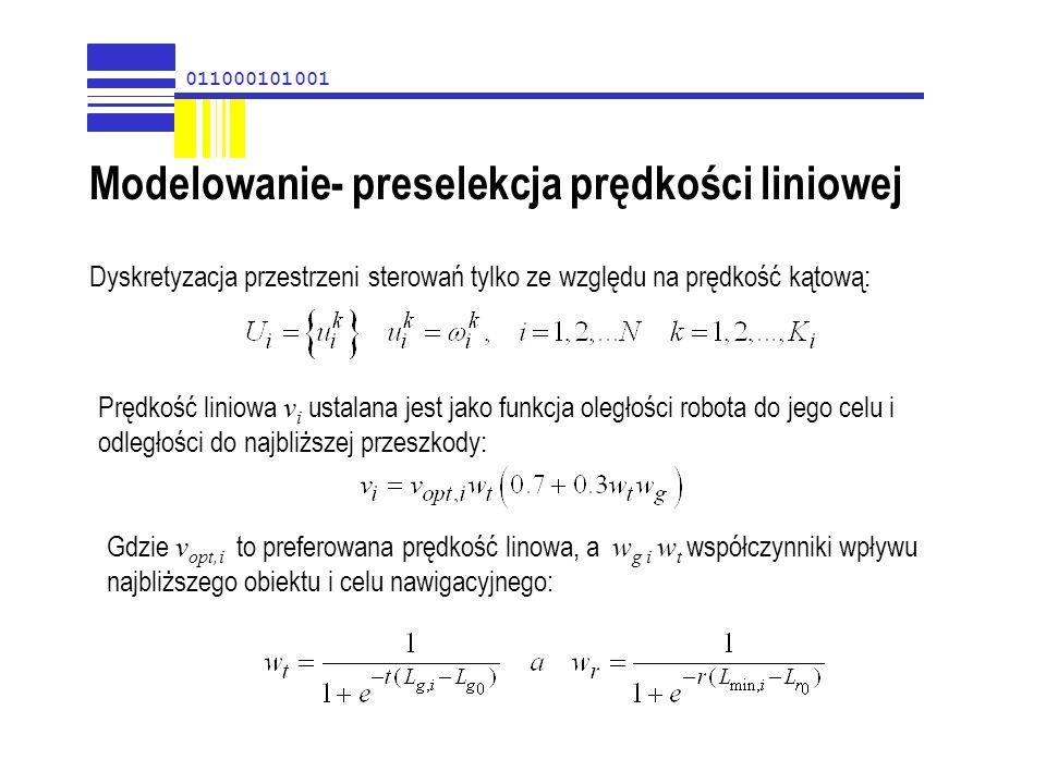 011000101001 Modelowanie- preselekcja prędkości liniowej Dyskretyzacja przestrzeni sterowań tylko ze względu na prędkość kątową: Prędkość liniowa v i