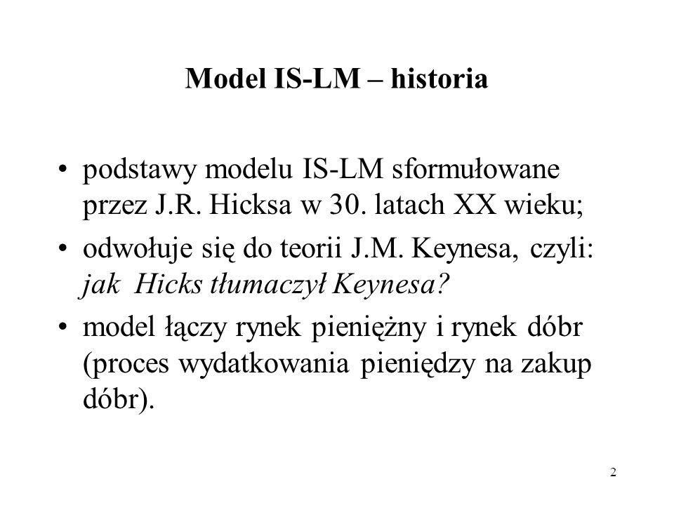 2 Model IS-LM – historia podstawy modelu IS-LM sformułowane przez J.R. Hicksa w 30. latach XX wieku; odwołuje się do teorii J.M. Keynesa, czyli: jak H