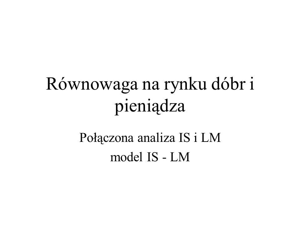 Równowaga na rynku dóbr i pieniądza Połączona analiza IS i LM model IS - LM