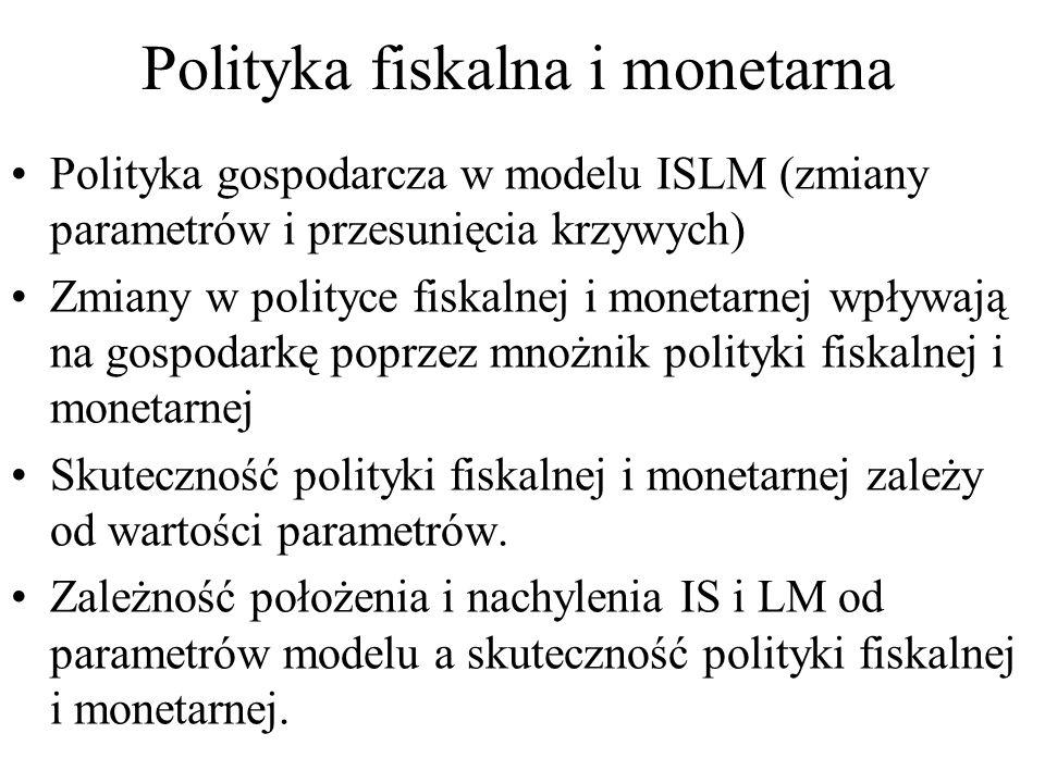 Polityka fiskalna i monetarna Polityka gospodarcza w modelu ISLM (zmiany parametrów i przesunięcia krzywych) Zmiany w polityce fiskalnej i monetarnej