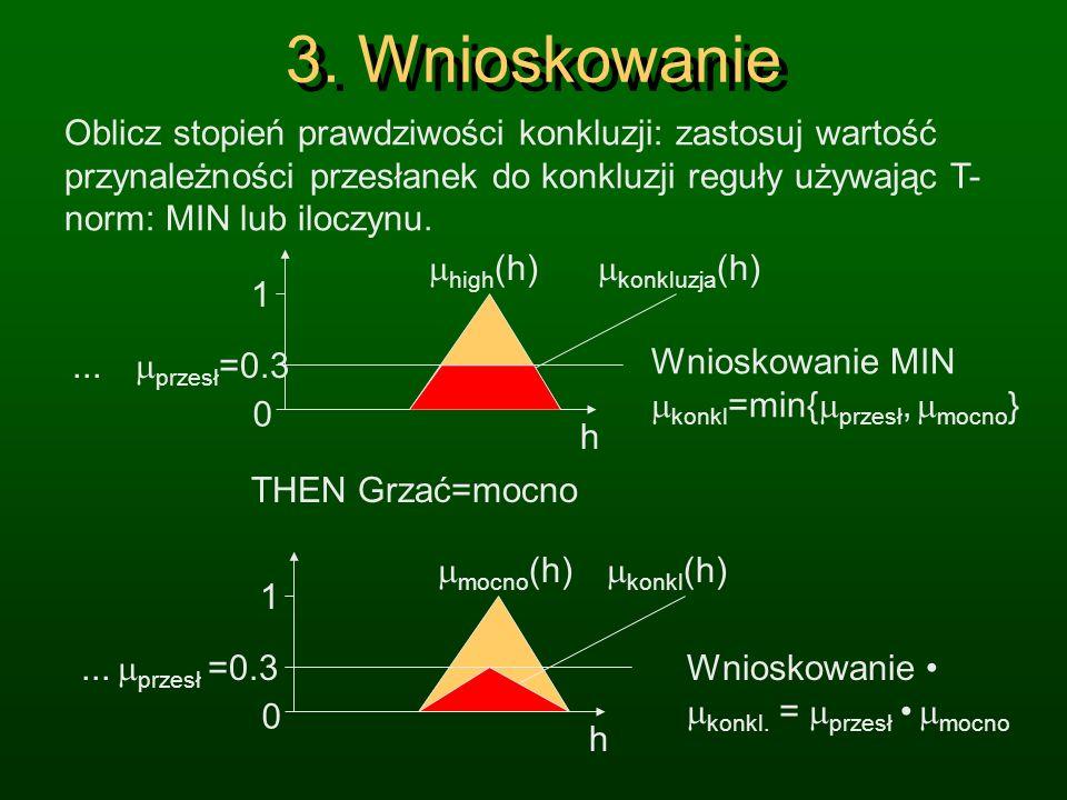 2. Łączenie termów Oblicz stopień spełnienia reguły dla wszystkich przesłanek łącząc ze sobą termy za pomocą rozmytego AND, np. operatora MIN. A (X) =