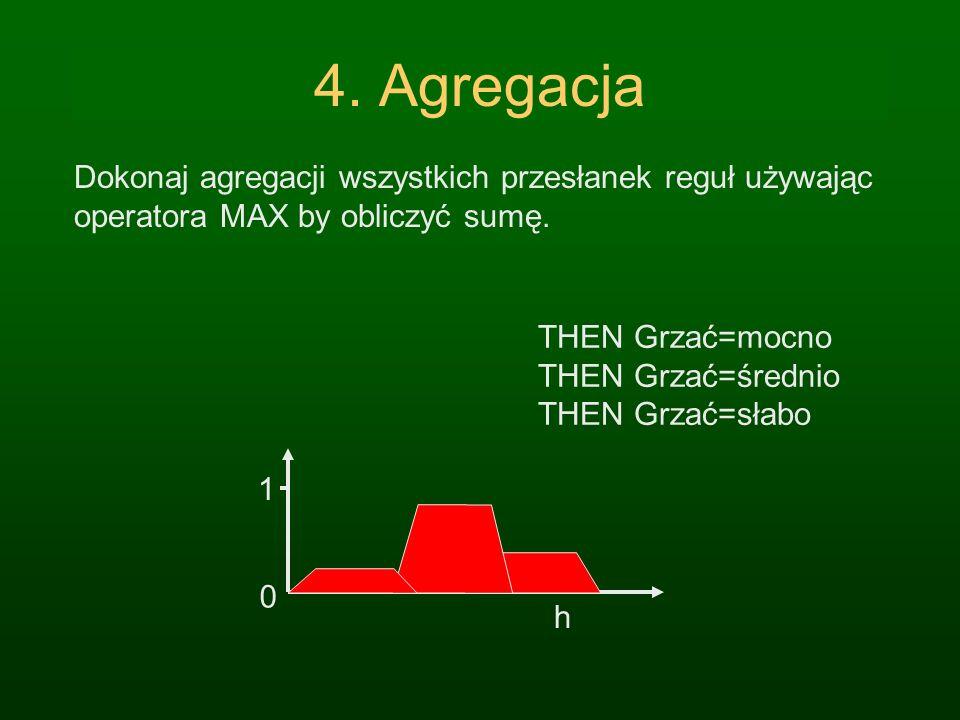 3. Wnioskowanie Oblicz stopień prawdziwości konkluzji: zastosuj wartość przynależności przesłanek do konkluzji reguły używając T- norm: MIN lub iloczy