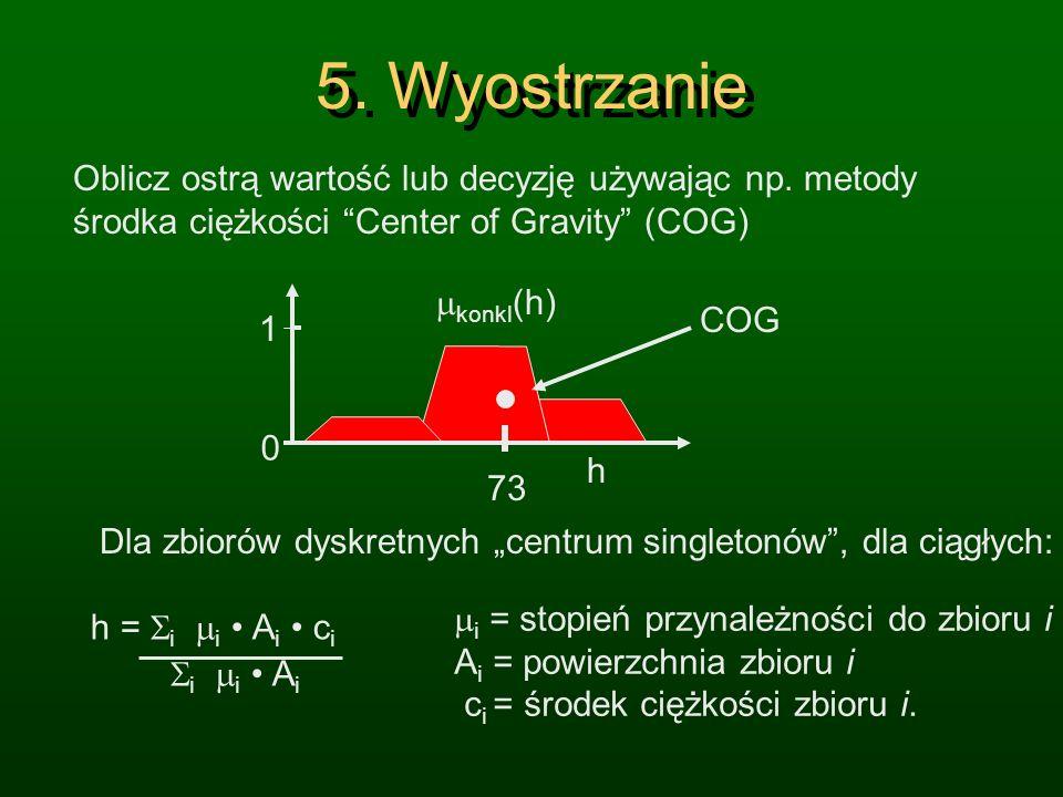 4. Agregacja h 1 0 THEN Grzać=mocno THEN Grzać=średnio THEN Grzać=słabo Dokonaj agregacji wszystkich przesłanek reguł używając operatora MAX by oblicz