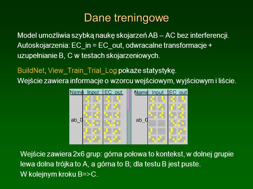 Dane treningowe Model umożliwia szybką naukę skojarzeń AB – AC bez interferencji. Autoskojarzenia: EC_in = EC_out, odwracalne transformacje + uzupełni