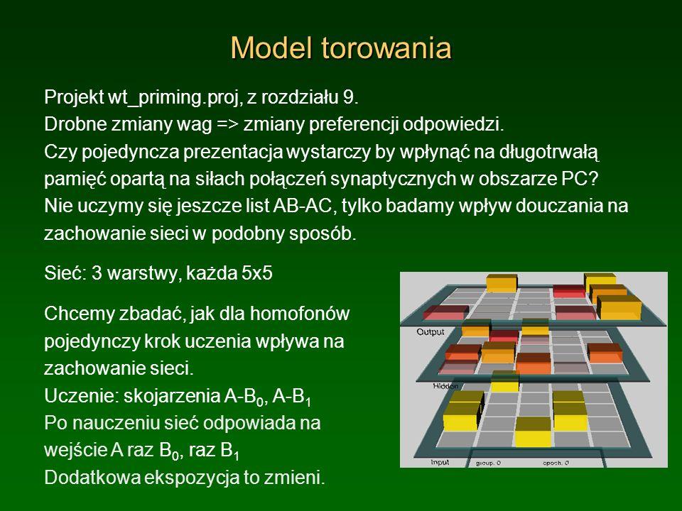 Model torowania Projekt wt_priming.proj, z rozdziału 9. Drobne zmiany wag => zmiany preferencji odpowiedzi. Czy pojedyncza prezentacja wystarczy by wp