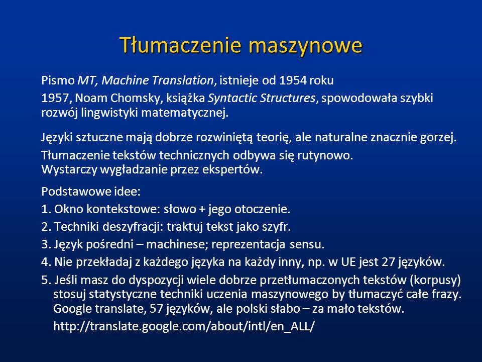 Tłumaczenie maszynowe Pismo MT, Machine Translation, istnieje od 1954 roku 1957, Noam Chomsky, książka Syntactic Structures, spowodowała szybki rozwój