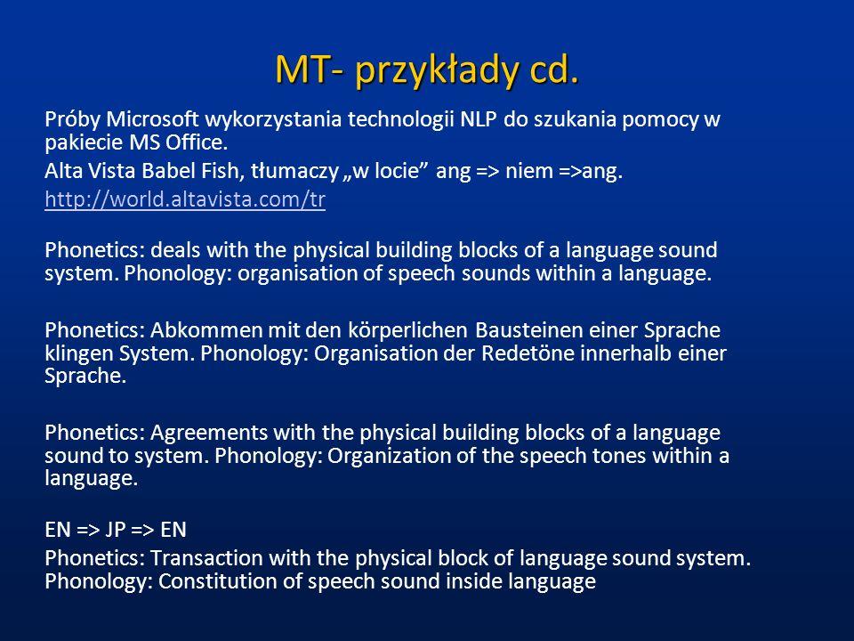 MT- przykłady cd. Próby Microsoft wykorzystania technologii NLP do szukania pomocy w pakiecie MS Office. Alta Vista Babel Fish, tłumaczy w locie ang =