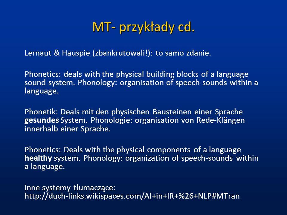 MT- przykłady cd. Lernaut & Hauspie (zbankrutowali!): to samo zdanie. Phonetics: deals with the physical building blocks of a language sound system. P