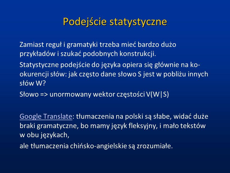 Podejście statystyczne Zamiast reguł i gramatyki trzeba mieć bardzo dużo przykładów i szukać podobnych konstrukcji. Statystyczne podejście do języka o