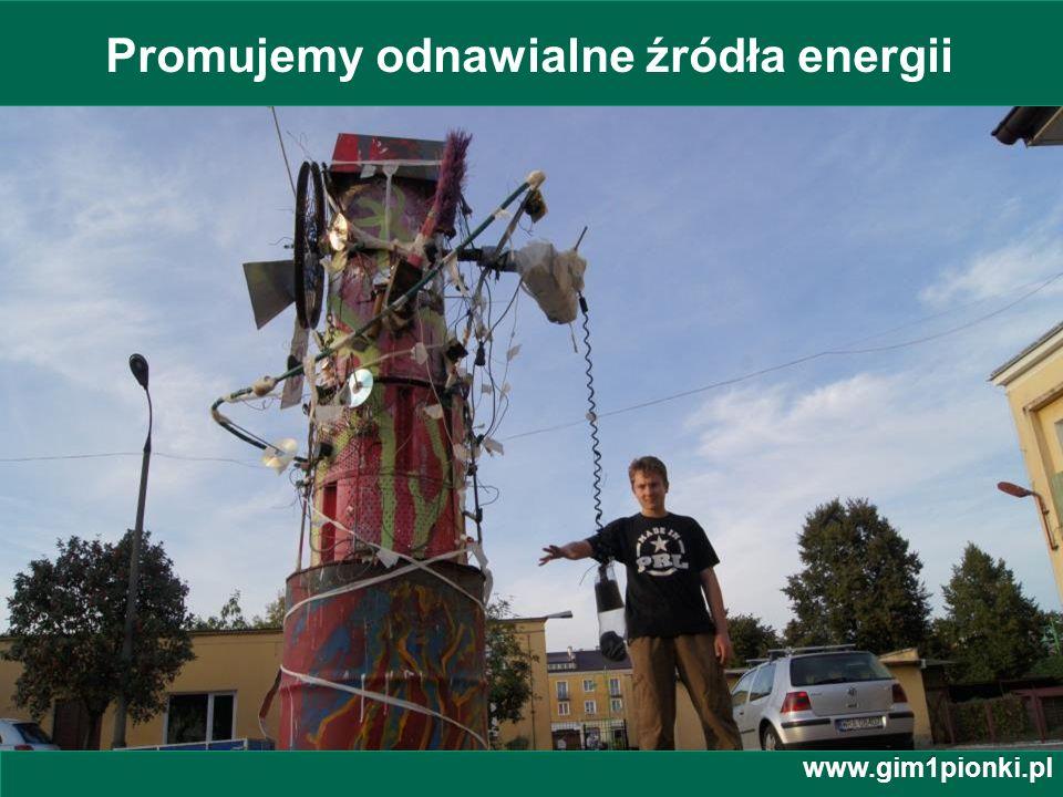 Publiczne Gimnazjum z Oddziałami Integracyjnymi nr 1 im. Jana Kochanowskiego w Pionkach Promujemy odnawialne źródła energii www.gim1pionki.pl