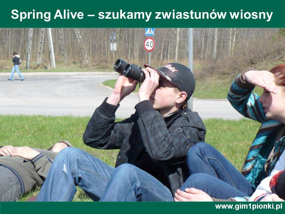 Publiczne Gimnazjum z Oddziałami Integracyjnymi nr 1 im. Jana Kochanowskiego w Pionkach Spring Alive – szukamy zwiastunów wiosny www.gim1pionki.pl