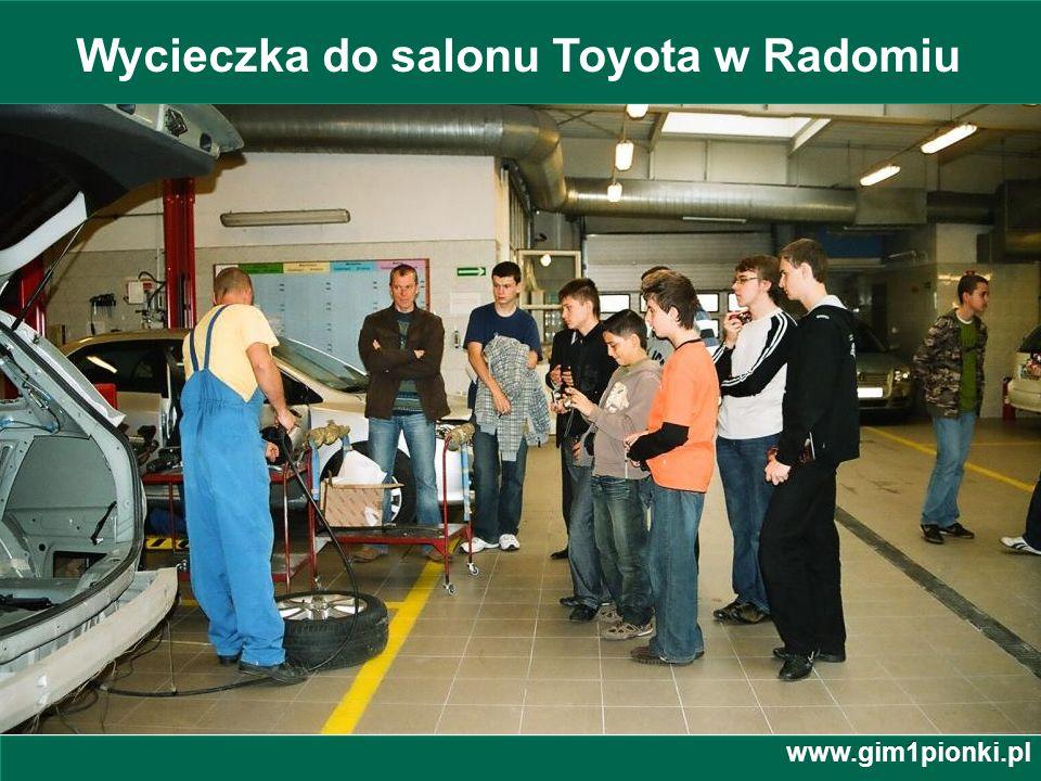 Publiczne Gimnazjum z Oddziałami Integracyjnymi nr 1 im. Jana Kochanowskiego w Pionkach Wycieczka do salonu Toyota w Radomiu www.gim1pionki.pl