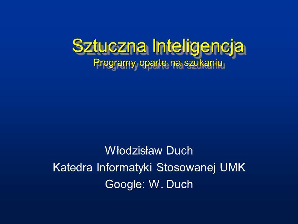 Sztuczna Inteligencja Programy oparte na szukaniu Włodzisław Duch Katedra Informatyki Stosowanej UMK Google: W. Duch