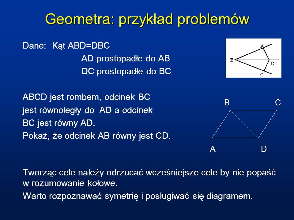 Geometra: przykład problemów Dane: Kąt ABD=DBC AD prostopadłe do AB DC prostopadłe do BC ABCD jest rombem, odcinek BC jest równoległy do AD a odcinek