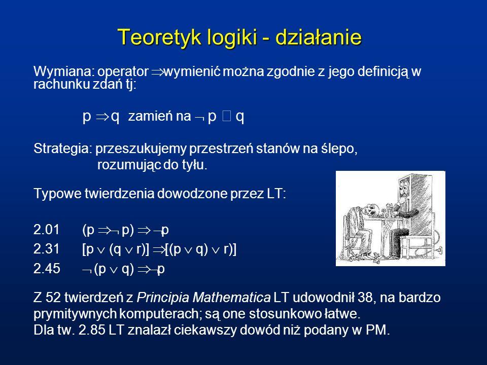 Teoretyk logiki - działanie Wymiana: operator wymienić można zgodnie z jego definicją w rachunku zdań tj: p q zamień na p q Strategia: przeszukujemy p