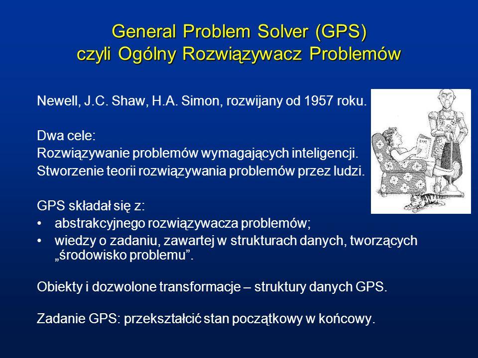 General Problem Solver (GPS) czyli Ogólny Rozwiązywacz Problemów Newell, J.C. Shaw, H.A. Simon, rozwijany od 1957 roku. Dwa cele: Rozwiązywanie proble